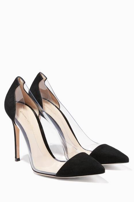 Black Suede Plexi Pumps