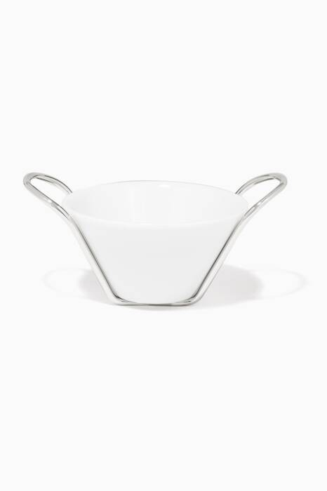 White Binario Sauce Bowl And Stand