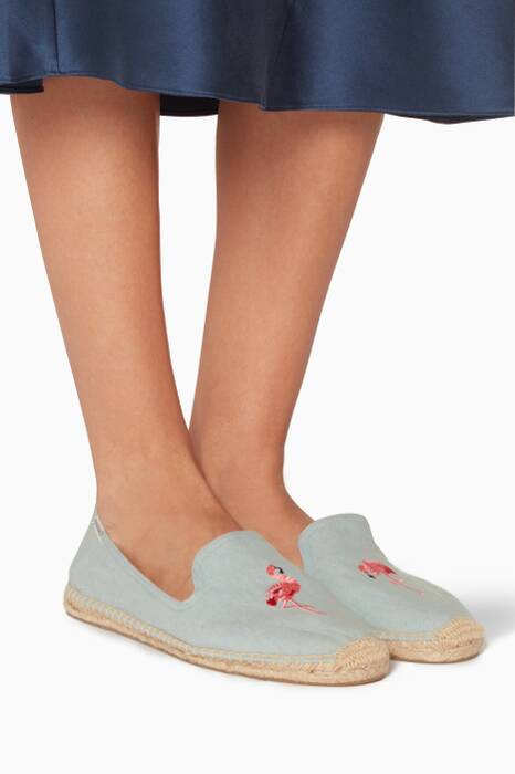 Blue Flamingo Espadrille Smoking Slippers