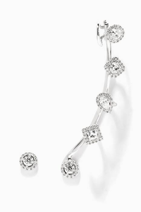 White-Gold And Diamond Rock Candy Cuff Earrings