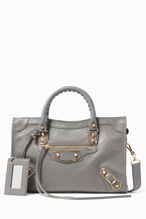 Grey Small Classic Metallic Edge City Tote Bag