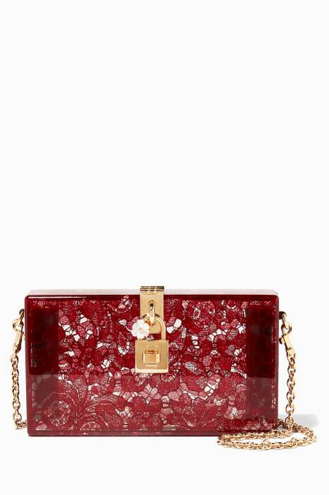 Dark-Red Dolce Plexi Lace Evening Clutch