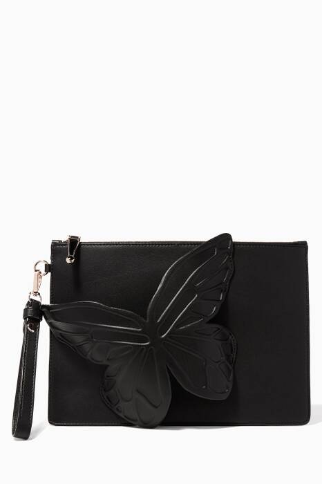 Black Flossy Butterfly Pouch