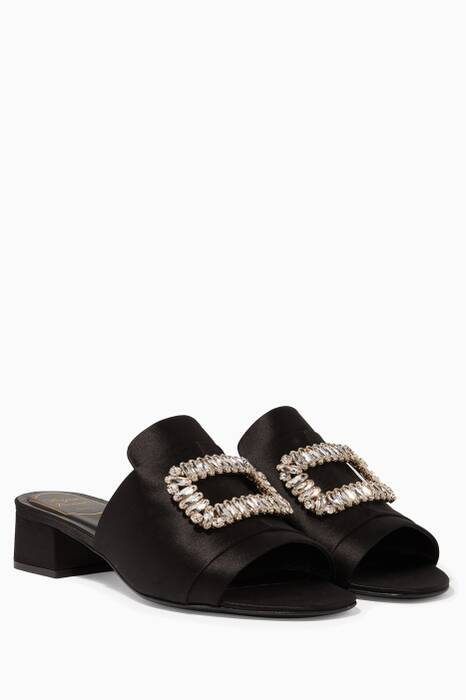 Black Flower Strass Buckle Sandals