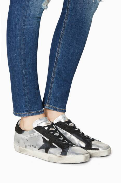 Metallic-Silver Superstar Sneakers