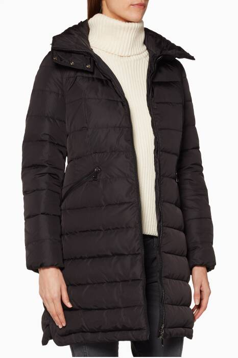 Black Flammette Quilted Puffer Jacket