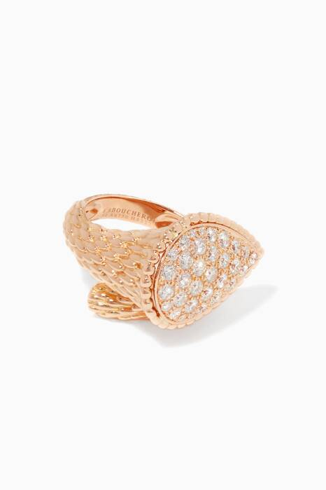 Rose-Gold & Diamonds L Motif Serpent Bohème Ring
