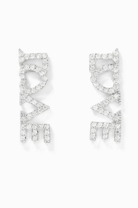White-Gold Love Earrings