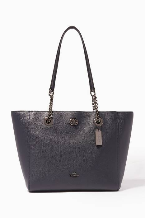 Navy Turnlock Chain 27 Tote Bag