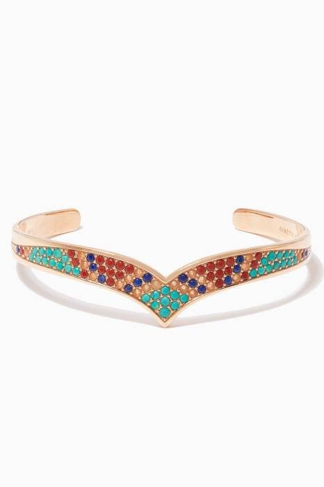 Gold Multi-Stone Wise Bangle