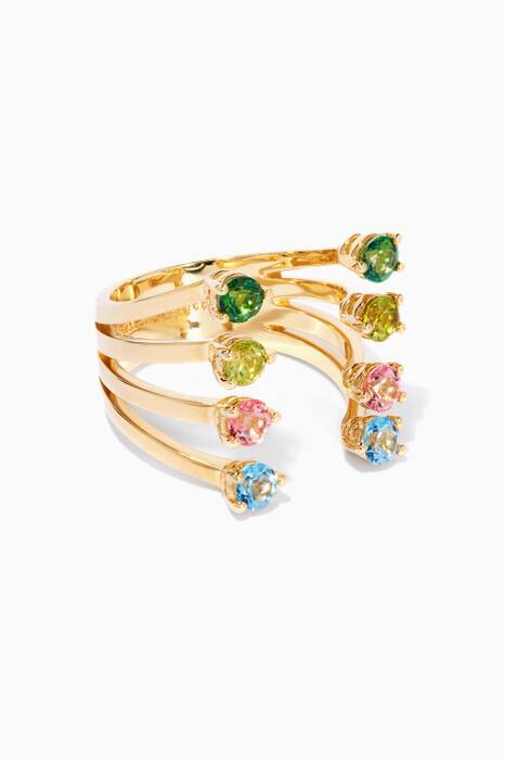Gold Multi-Colour Dots Ring