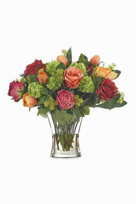 Orange & Fuchsia Rose Bouquet with Oval Glass Vase