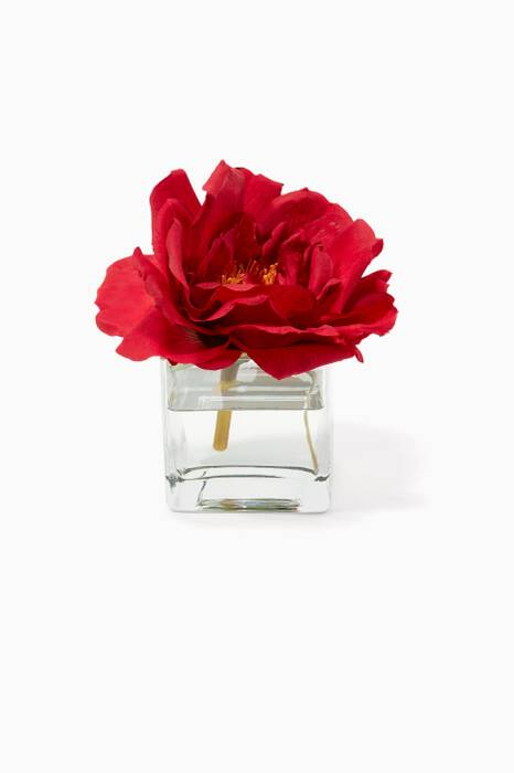 Red Rose Bouquet with Glass Cube Vase
