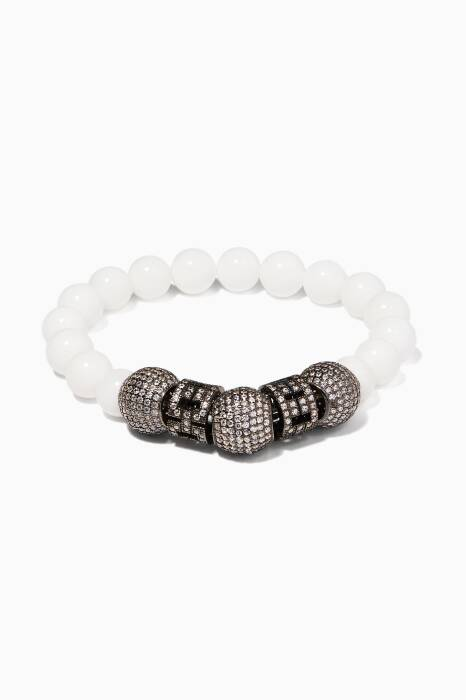 Off-White Agate Stone And Zirconia Bracelet