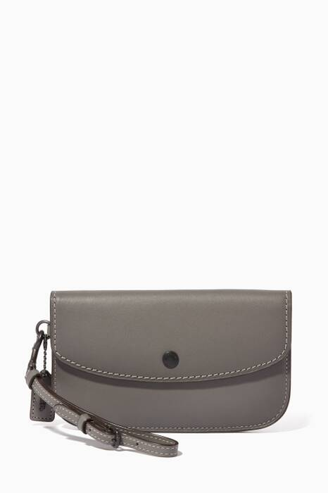 Grey Glove-Tanned Leather Clutch