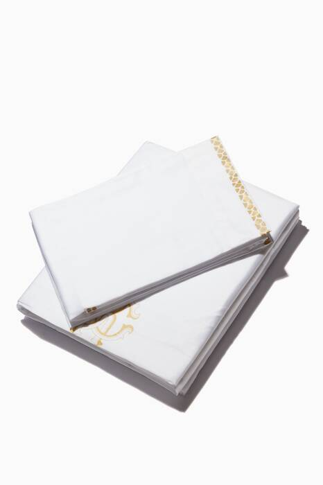 White New Gold King-Sized Duvet & Sheet Set