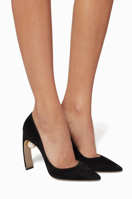 Black Maeva Suede Pearl Pumps