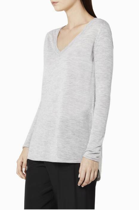Grey V-Neck Raw Edge Sweater