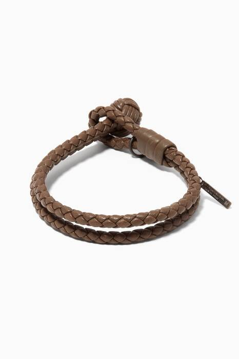 Dark Grey Intrecciato Leather Knot Bracelet