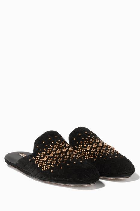 Fiandra Black Studded Suede Slippers