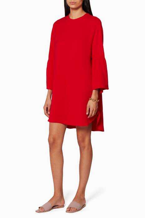 Red Cloche Sleeve Dress