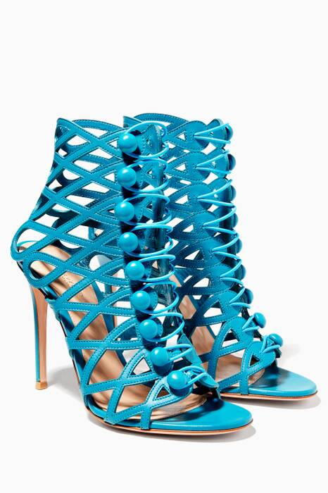 Blue Caged Leather Sandals