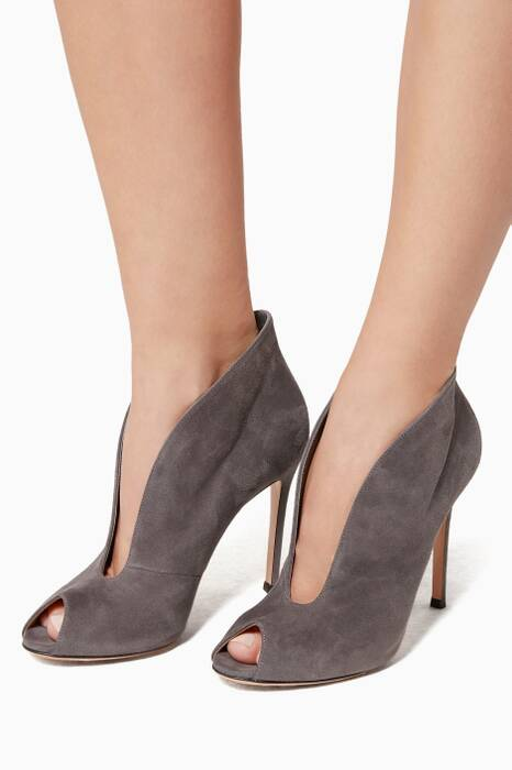 Grey Peep toe Suede Boot