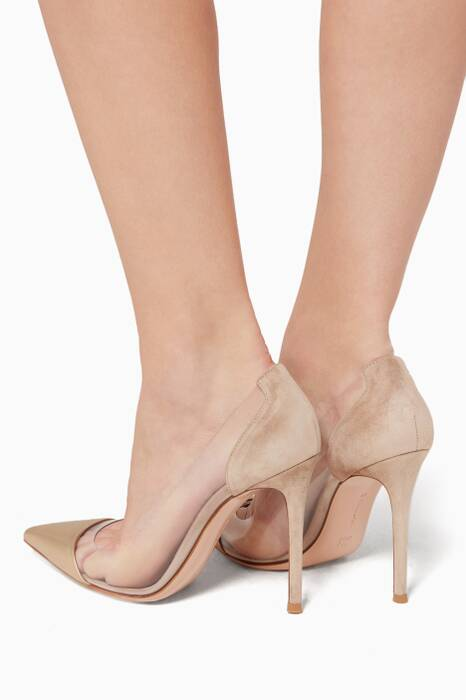 Plexi Gold Suede And PVC Pump