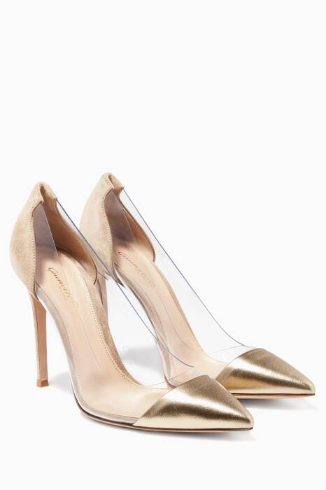 Gold Leather & Beige Suede Plexi Pumps