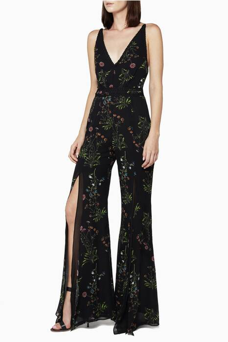 Floral-Print Silk Flared Jumpsuit