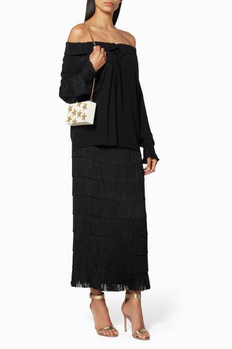 Black Annika Fringe Silk Skirt