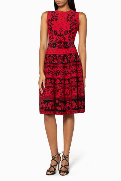Red Sleeveless Spring Floral Jacquard Dress