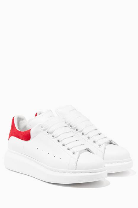 White And Red Platform Leather Sneakers