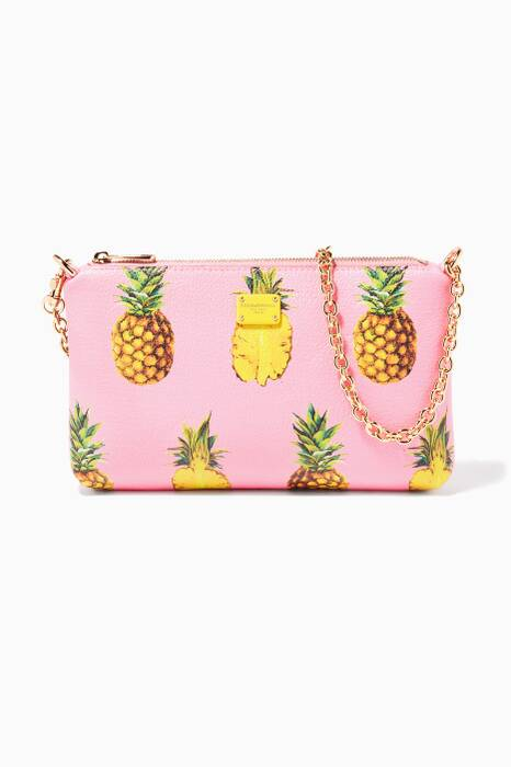 Pineapple-Print Leather Chain-Strap Bag