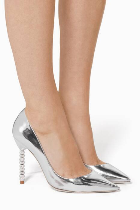 Coco Crystal-Embellished Silver Pumps