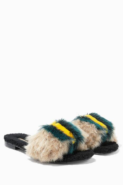 Beige Kitzbuhel Fox Striped Faux-Fur Slippers