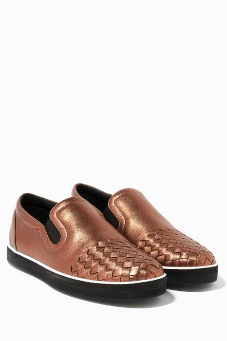 Bronze Intrecciato Slip-On Sneakers