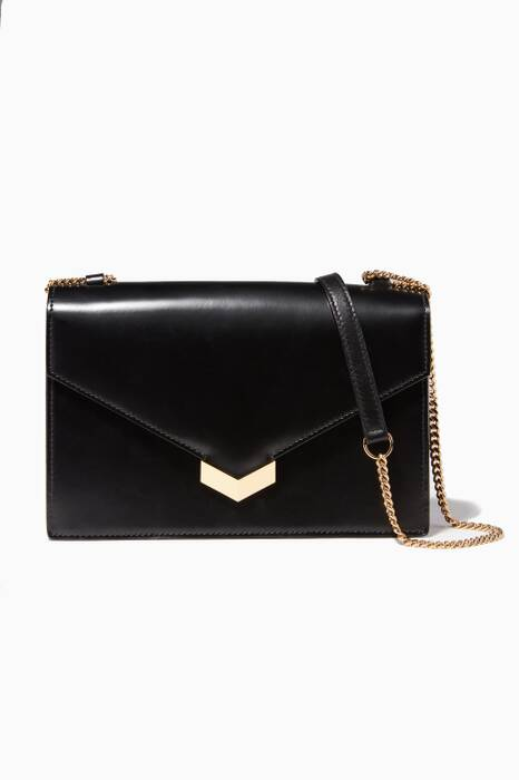 Leila Black Leather Crossbody