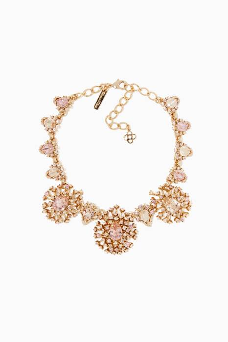 Light-Pink Tiered Crystal Necklace