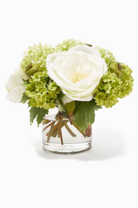 Cream & Green Anemone Snowball Bouquet with Glass Cylinder Vase