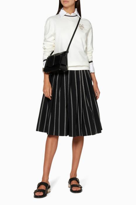 Black Striped & Pleated Skirt