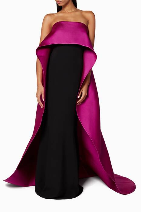 Plum Stapless Cape Gown