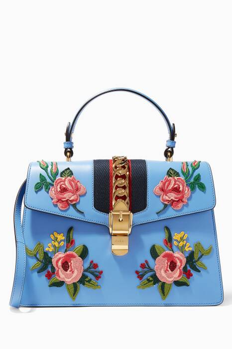 Blue Sylvie Embroidered Leather Top Handle Bag