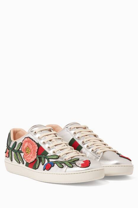 Silver Floral Embroidered Sneakers