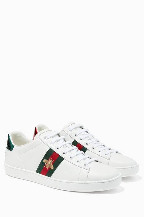 White Ace Bee-Embroidered Sneakers