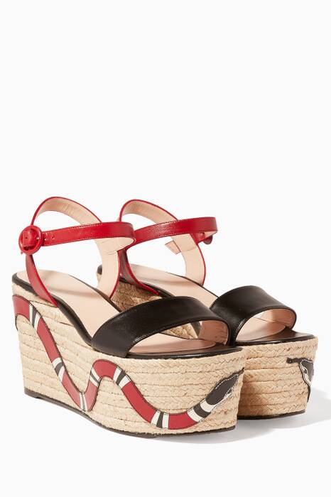 Snake Espadrille Wedge Sandals