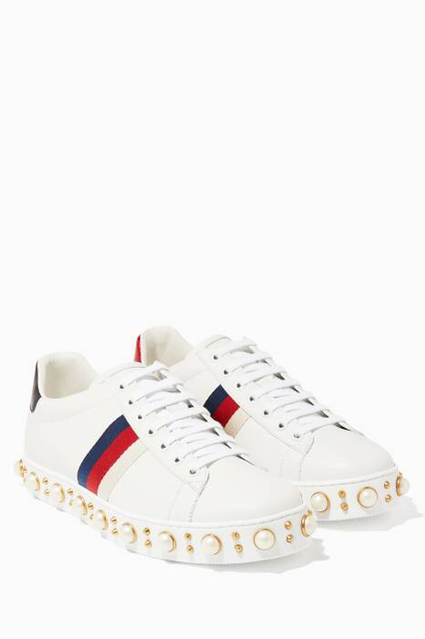 White Ace Studded Low-top Sneaker