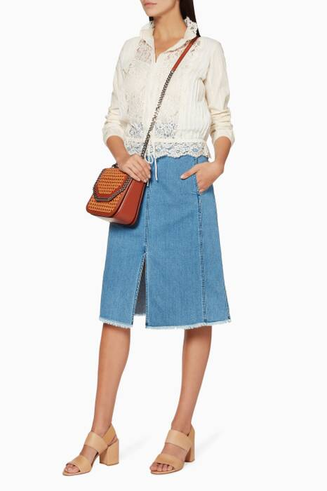 Blue Embossed-Waist Denim Skirt