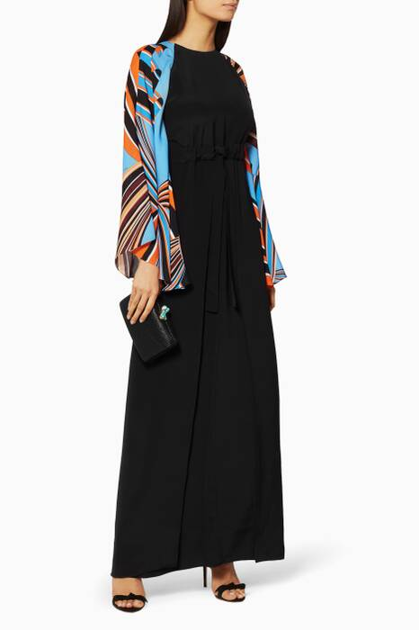 Printed Sleeve Kaftan Gown