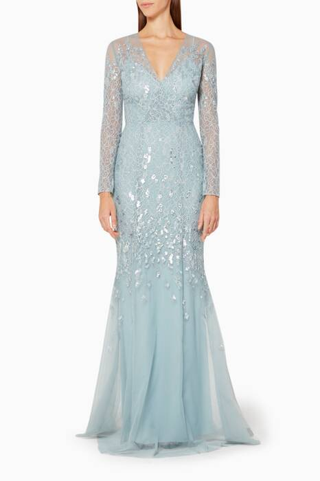 Ashley Blue Embellished Tulle Gown